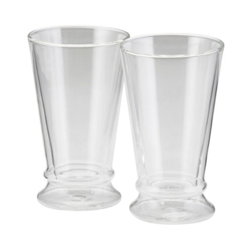 BonJour Coffee Insulated Borosilicate Glass Latte Glasses, 2-Piece Set, 12-Ounces Each