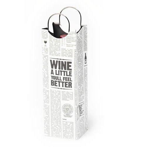 Revel Paper 0959 Word Press Single Bottle Paper Wine Bag, White