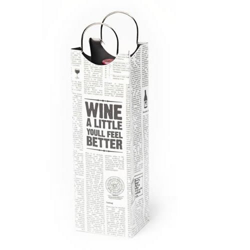 Revel Paper 0959 Word Press Single Bottle Paper Wine Bag, White