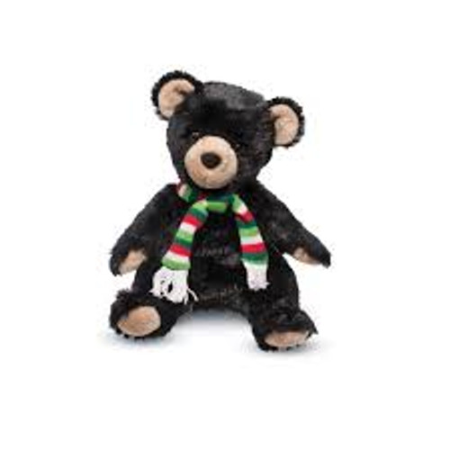 Bjorn Black Bear Pudgie Small with Scarf by Douglas Cuddle Toys (7731C)
