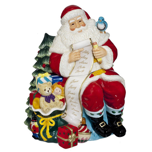Waterford 2015 Holiday Heirlooms Ceramic Cookie Jar Santa with List