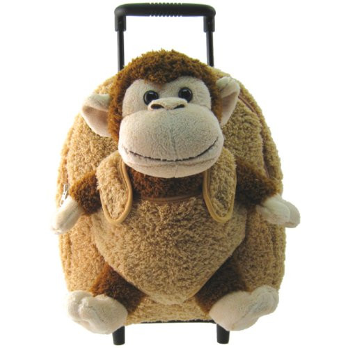 Kids Boys Girls Beige Brown Monkey Plush Roller Backpack With Stuffie item#kk8095ch
