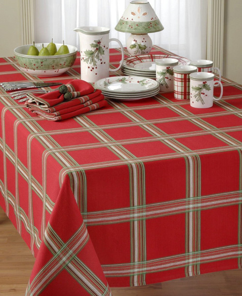 "Lenox Table Linens, Holiday Gatherings Plaid 14"" X 19"" Placemat Red Plaid"
