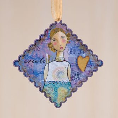 Kelly Rae Roberts Create Scalloped Ornament * Demdaco Decor