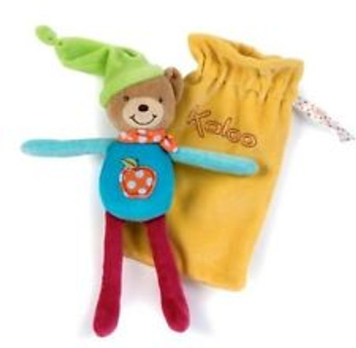 Kaloo Colors Baby Bear with Apple Applique with Drawstring Bag