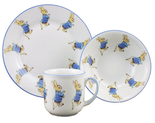 Peter Rabbit - 3 Piece Porcelain Dining Set - Mug, Cereal Bowl & Plate - Beatrix Potter by Reutter Porzellan-Christening
