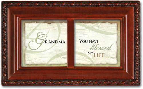 Grandma Grandmother Blessed my Life Petite Woodgrain Music Jewelry Box Plays Wind Beneath Wings