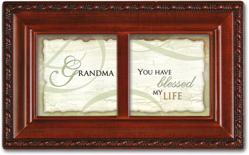 Grandma Blessed My Life Petite Woodgrain Music Jewelry Box