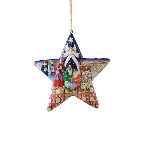 Jim Shore Heartwood Creek Nativity Star Hanging Ornament, 4-3/4 Inches