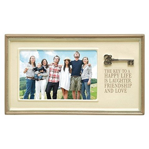 """Grasslands Road """"Key to Happy Life"""" Ceramic Frame, Antique White, 4 by 6-Inch"""
