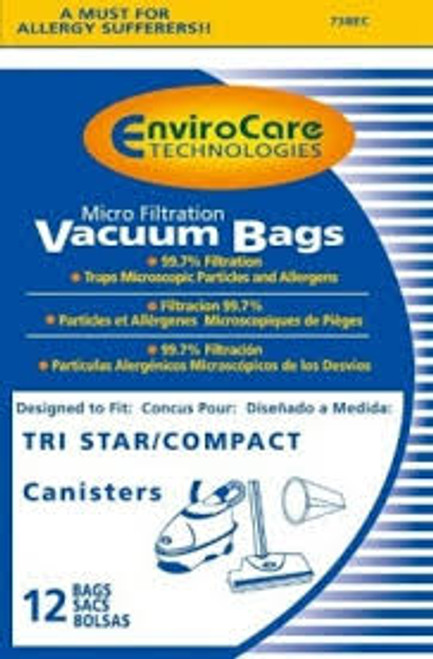 Generic Compact/Tristar Vacuum Bags Microfiltration with Closure - 12 Pack