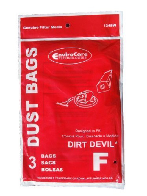 12 Royal Dirt Devil Canister Type F Vacuum Bags, Can Vac, Power Pak Vacuum Cleaners, 3-200147-001, 3200147001, 200147, R