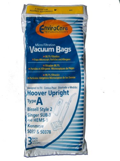 6 Hoover Allergy Vacuum Type a Bags, Convertible, Elite, Legacy, Decades, Concept One, Encore, PowerMax, Runabout, Spect