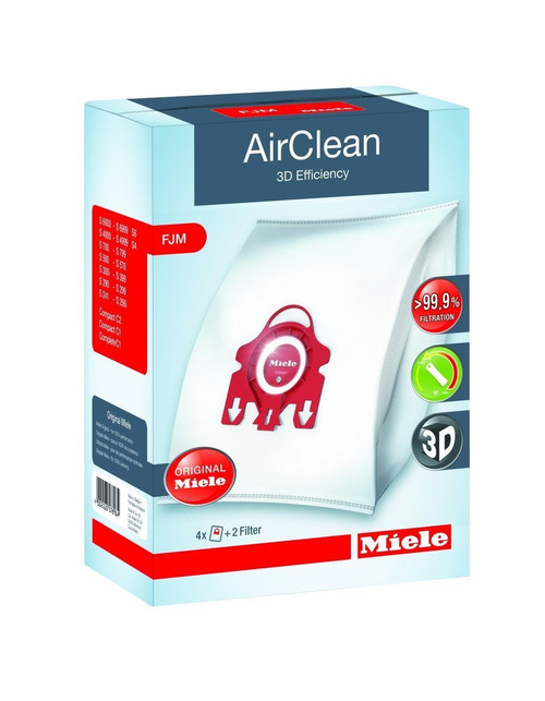 4 X Miele 10123220 AirClean 3D Efficiency Dust Bag, Type FJM, 4 Bags & 2 Filters
