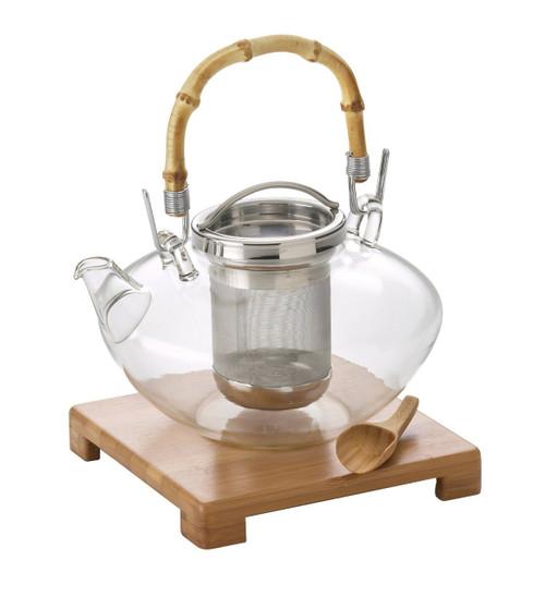 "BonJour Tea Handblown Glass ""Zen"" Teapot with Stainless Steel Infuser and Bamboo Trivet, 42-Ounce"