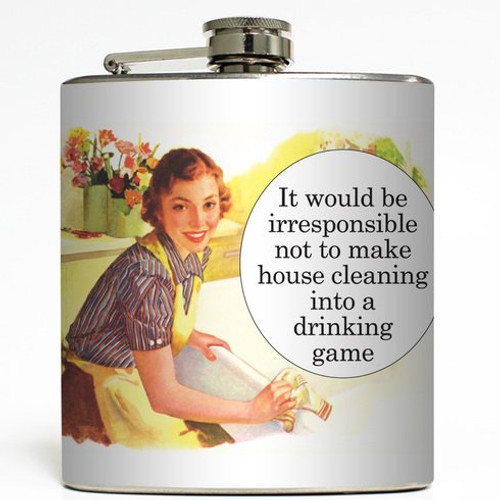House Cleaning Drinking Game - Liquid Courage Flasks - 6 oz. Stainless Steel Flask