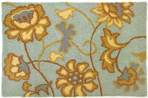 Jacobean Flower Spa Blue Jelly Bean Rug With Memory Foam