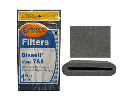(1 Set) Bissell Vacuum style 7/8/14 Foam Filter Kit 3093 Cleanview type Part # 203 1073, 3290, 203 1085, 203 1192