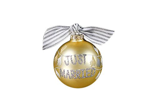 Coton Colors Just Married Tassel Banner Glass Ornament