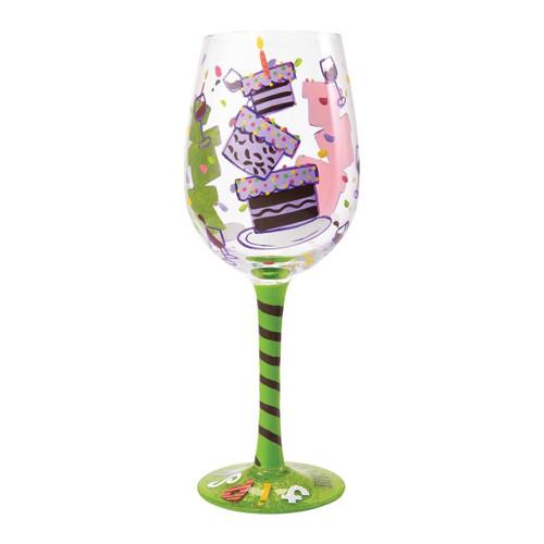 """Lolita Glassware Tipsy Birthday Wine Glass (4054097), 9"""", Multicolor"""