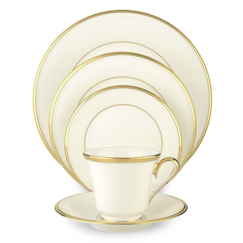 Lenox Eternal White Gold-Banded Bone China 5-Piece Place Setting, Service for 1