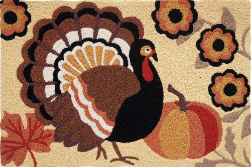 Jellybean Indoor Outdoor Accent Area Rug Fall Leaves Rustic Turkey 21 x 33