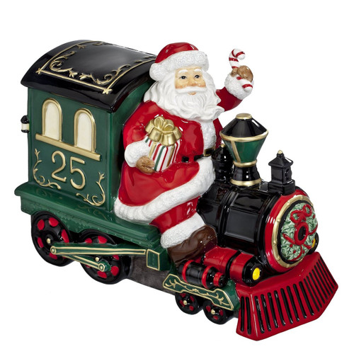 Waterford 2015 Holiday Heirlooms Ceramic Cookie Jar Santa on Train