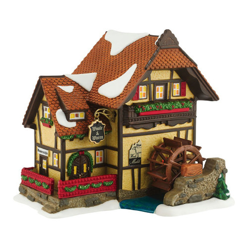 Department 56 Alpine Village Alpen Woolen Mill Lighted Porcelain House