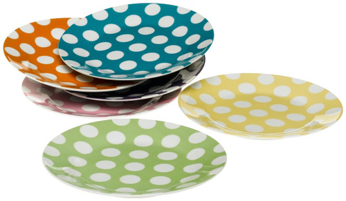 Classic Coffee & Tea White Dots Dessert Plates, Set of 6, Assorted