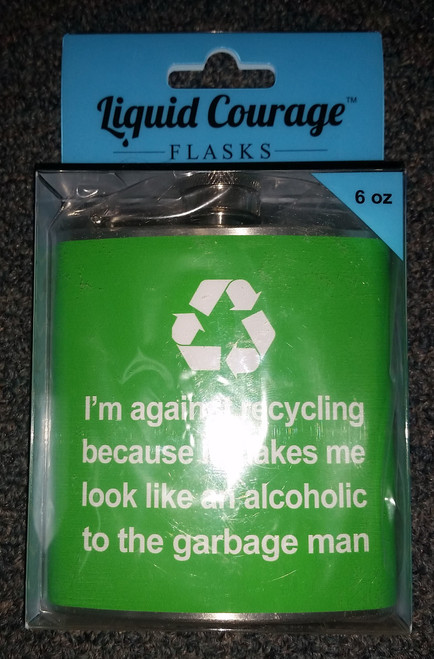 Against Recycling - Liquid Courage Flasks - 6 oz. Stainless Steel Flask, Green