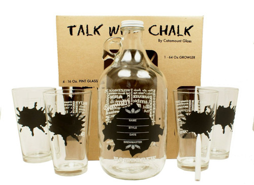 """Catamount Glassware 5-Piece """"Talk With Chalk"""" Growler Set, Splatter Design"""
