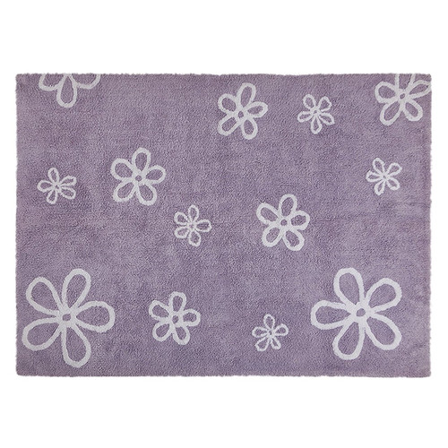 Lorena Canals Purple Flowers Washable Children's Rug - Machine Washable, Perfect for the Nursery - Handmade from 100% Na