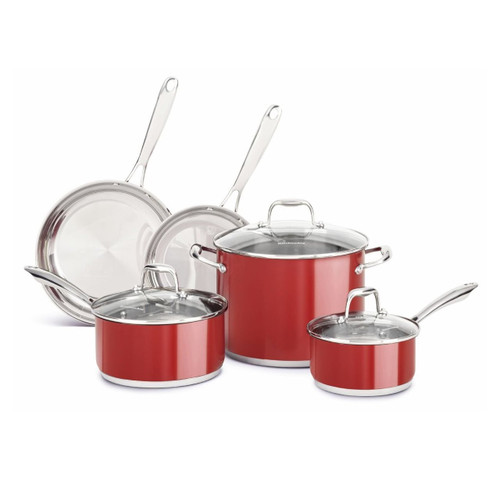 KitchenAid KCSS08ER Stainless Steel 8-Piece Cookware Set - Empire Red
