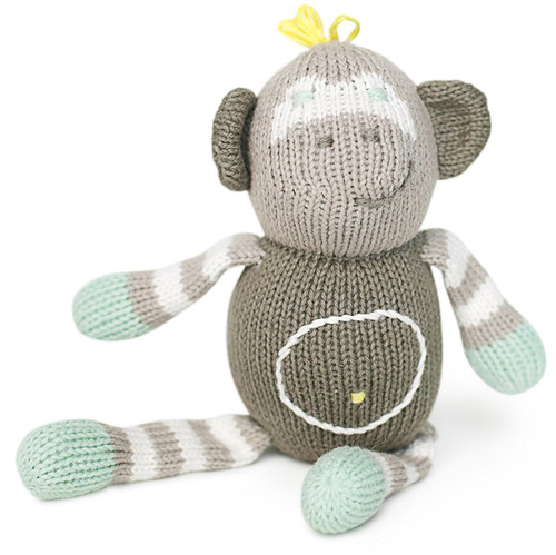 Finn + Emma | Rattle Buddies | Baby Unisex | Theo the Monkey | 100% Organic & Eco-Friendly | Hand Knit & Fair Trade | Ma