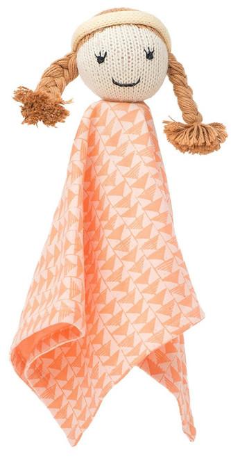 Finn + Emma | Rattle Lovie | Baby Girl | Clemantine | 100% Organic & Eco-Friendly | Hand Knit & Fair Trade | Made in Per