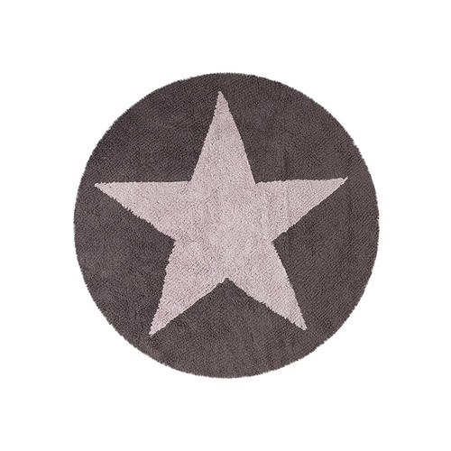 "Lorena Canals Reversible Star Machine Washable Nursery Rug 4' 8"" Round, Handmade from 100% Natural Cotton and Non-Toxic"