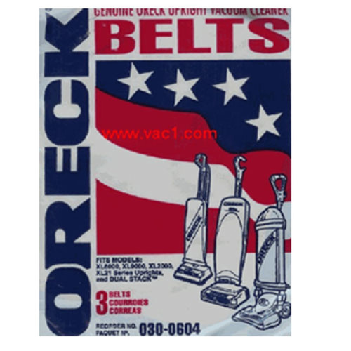 Oreck XL Series Upright Vacuum Cleaner Flat Belts 3 Pk Genuine Part # 75024-01