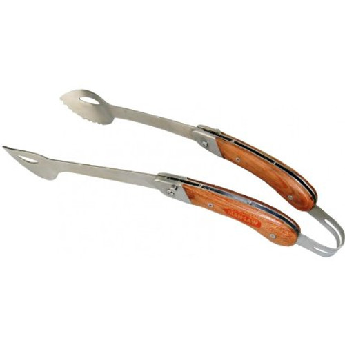 MAN LAW BBQ Heavy Duty Stainless Steel Foldable Tongs with Rosewood Handle, 17.5