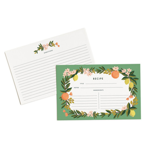 "Rifle Paper Citrus Floral 4"" x 6"" Recipe Cards -- Set of 12 Cards"