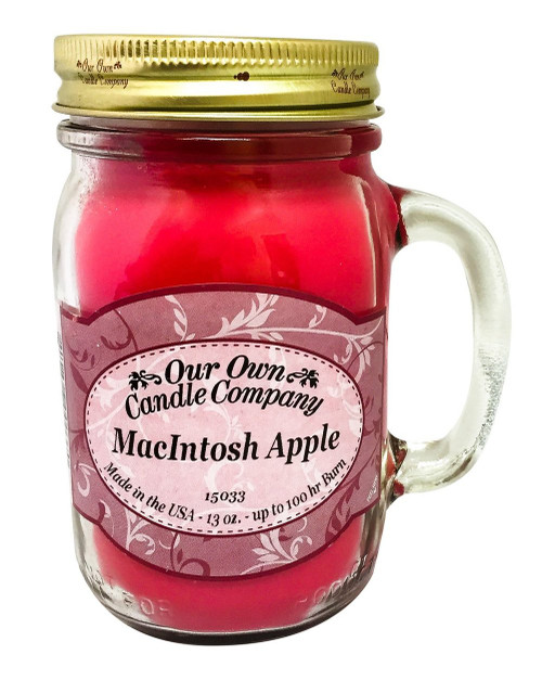 MacIntosh Apple Scented 13 Ounce Mason Jar Candle By Our Own Candle