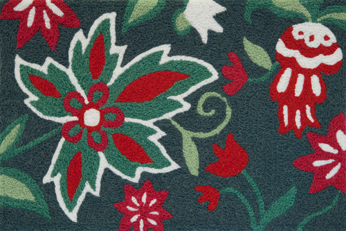 Abigail Christmas Rug Red Green Floral Holiday Jellybean
