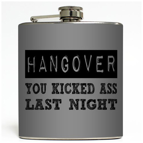 Hangover - Grey - Liquid Courage Flasks - 6 oz. Stainless Steel Flask
