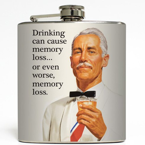 Drinking Can Cause Memory Loss - Liquid Courage Flasks - 6 oz. Stainless Steel Flask