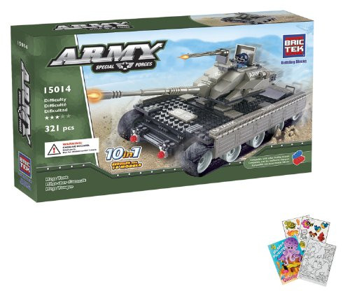 BRICTEK Mega Tank 10 in 1 Building Blocks Set 321pcs (Compatible with Legos) BT-15014 + Coloring Activity Book