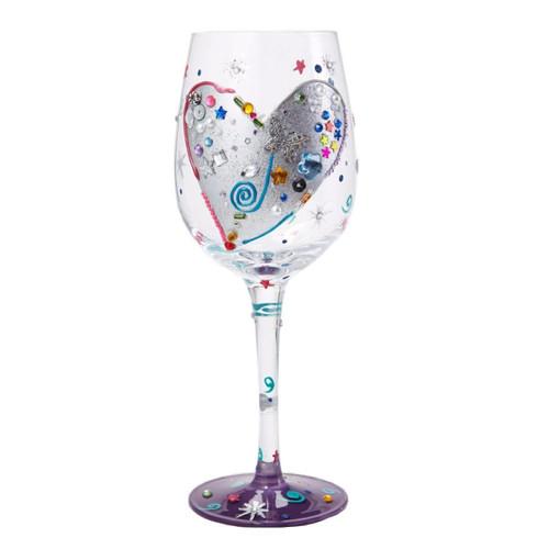 Lolita from Enesco Love My Wine Glass, Silver Lining