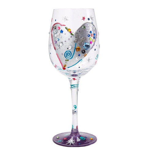 Lolita from Enesco Love My Wine Glass, Silver Lining