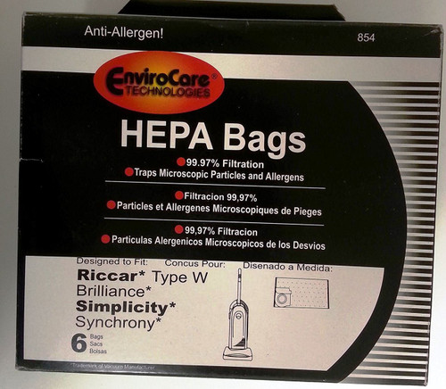 Riccar Type W and Brilliance Simplicity Synchrony HEPA Vacuum Bags 6 pk. by EnviroCare