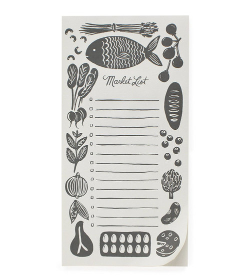 Rifle Paper Woodblock Market Grocery List Magnetic Note Pad
