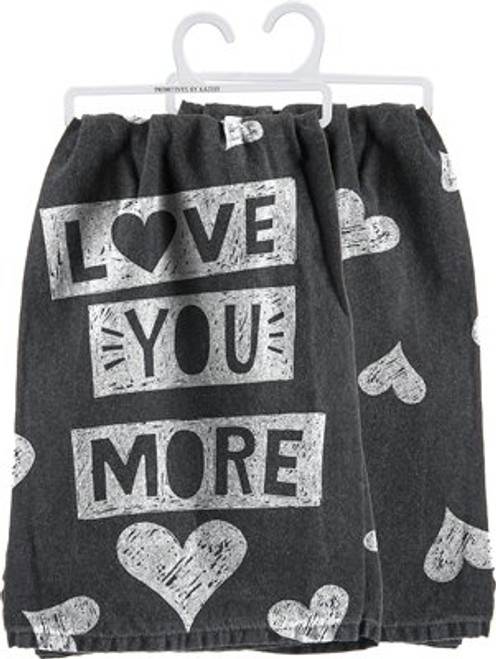 Love You More Towel - Heart Chalkboard Design - Cute Kitchen Dish Towel - 28 Square - Cotton - Primitives By Kathy - Gif