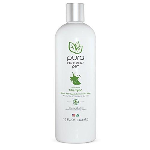 Pura Naturals Pet Organic Nourishing Unscented Oatmeal and Aloe Shampoo 16oz Made with Organic Oils-Chemical Free and Sa